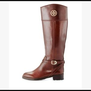 Tory Burch Teresa Riding Boot Smooth Brown Leather